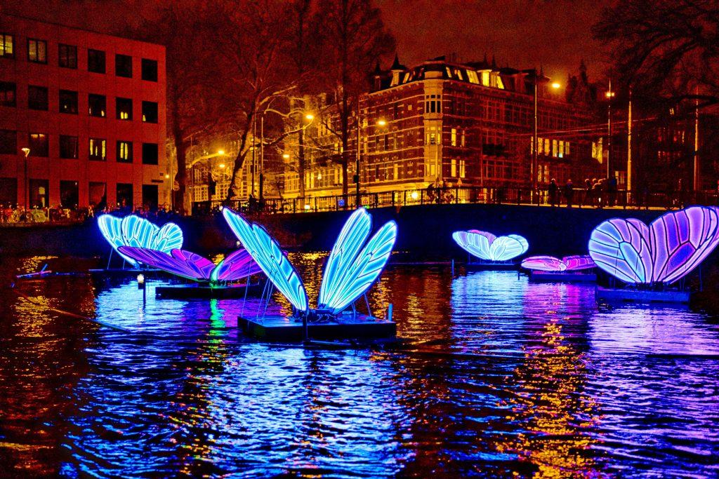 Butterfly Effect tijdens Amsterdam Light Festival 2019. Photo edited by Bob Willcutt.